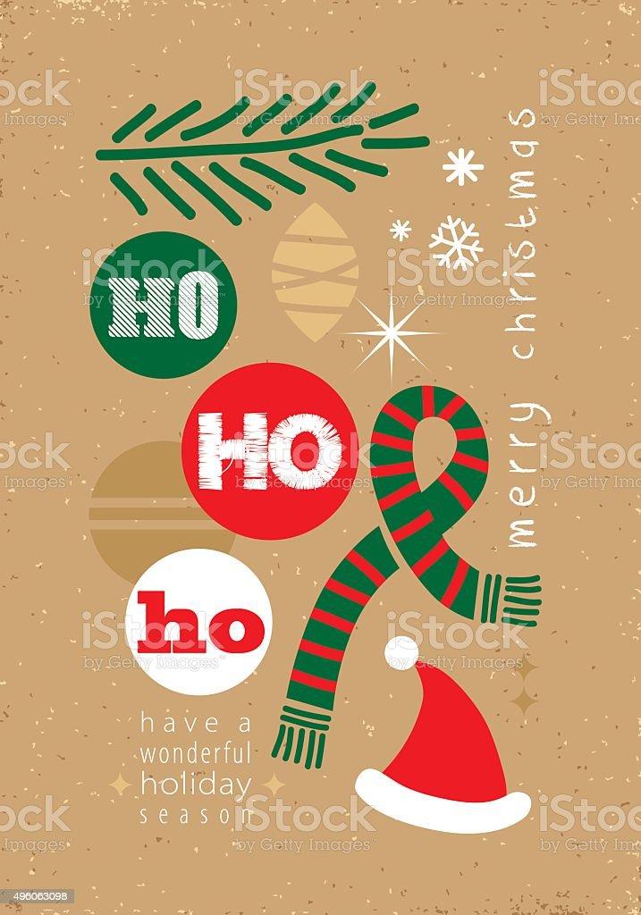 ho ho ho! - christmas card vector art illustration