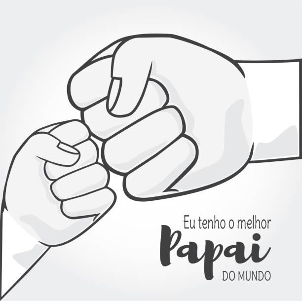 Ich habe die besten Vater der Welt ist Eu Tenho o Melhor Papai Mundo in portugiesischer Sprache. Vater und Kind Hände Vektor. – Vektorgrafik