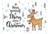 have yourself a merry little christmas handwritten merry christmas xmas quote on a background with cute deer in the forest