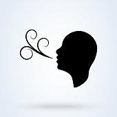 Having breath difficulties. Simple vector modern icon design illustration.