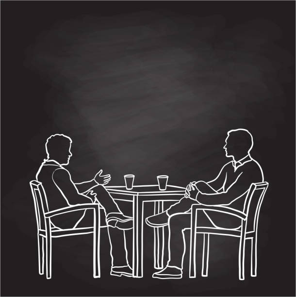 Having Coffee With Co-worker Chalkbaord vector art illustration