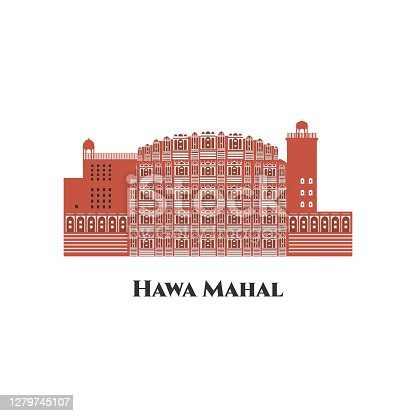 istock Hawa Mahal. Jaipur India line skyline at white background. Great destination for tourist visit. Business travel and tourism concept with modern buildings. Vector flat cartoon illustration 1279745107