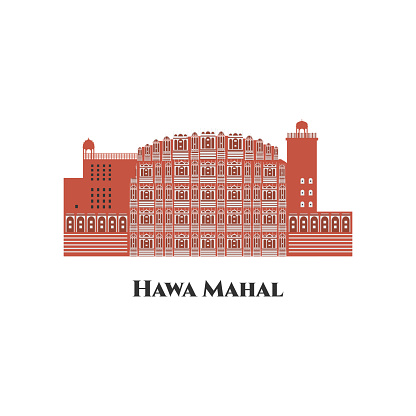 Hawa Mahal. Jaipur India line skyline at white background. Great destination for tourist visit. Business travel and tourism concept with modern buildings. Vector flat cartoon illustration