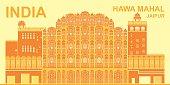 Detailed illustration of World Famous Hawa Mahal, Palace of Winds, Jaipur India