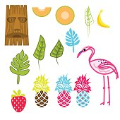 Hawaii aloha clip art vector set