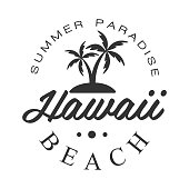 Hawaii beach, summer paradise icon template, black and white vector Illustration for label, badge, sticker, banner, card, advertisement, tag