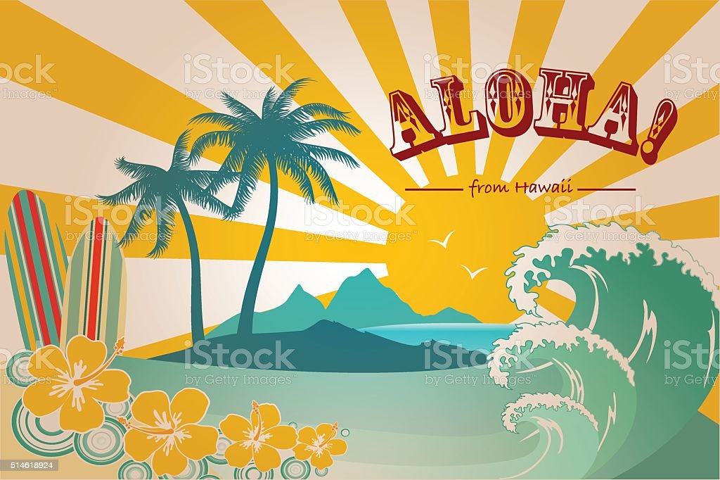 Hawaii Card vector art illustration