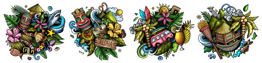 Hawaii cartoon vector doodle designs set.
