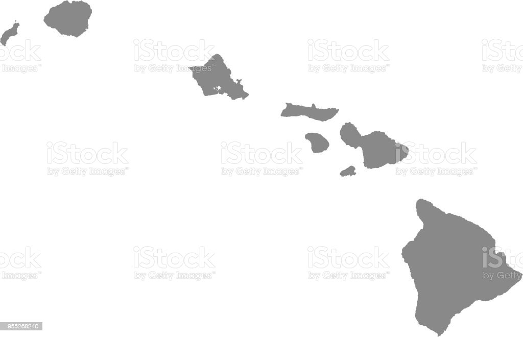 Hawaii County Map Vector Outline Illustration Gray ...