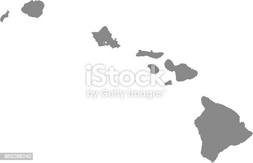 istock Hawaii county map vector outline illustration gray background. Hawaii state of USA county map. County map of Hawaii state of United States of America 955268240