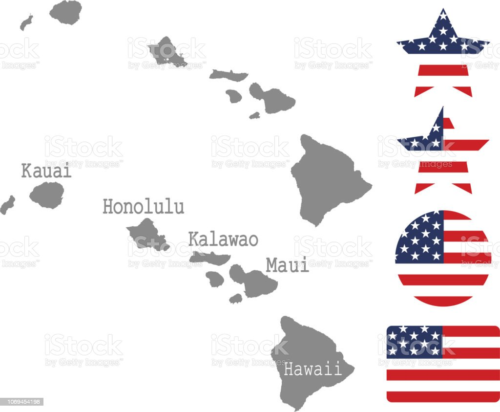 Hawaii County Map Vector Outline In Gray Background Hawaii ...