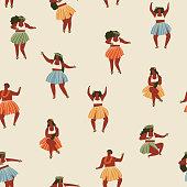 Hawaii dance seamless pattern.
