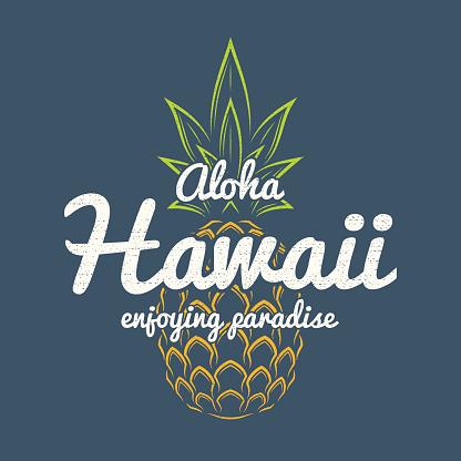 Hawaii enjoying paradise tee print with pineapple.