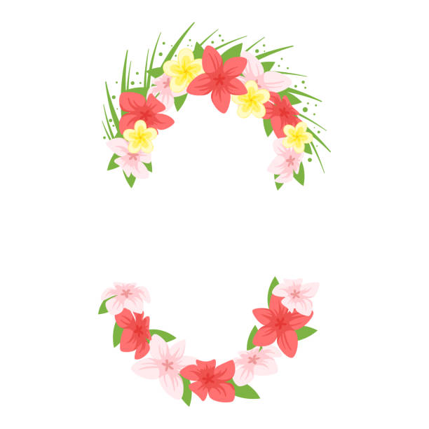 hawaii face element carnival mask - hawaiian lei stock illustrations, clip art, cartoons, & icons