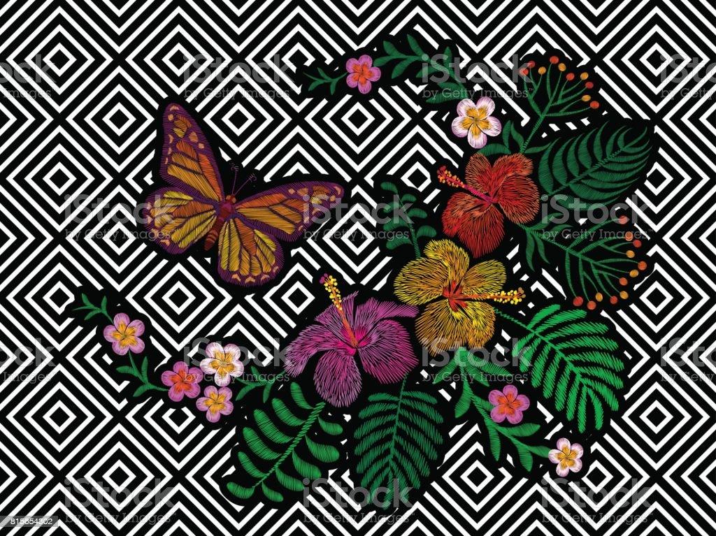 Ilustración de Hawai Flor Bordado Tendencia Geométrica Negro Raya ...
