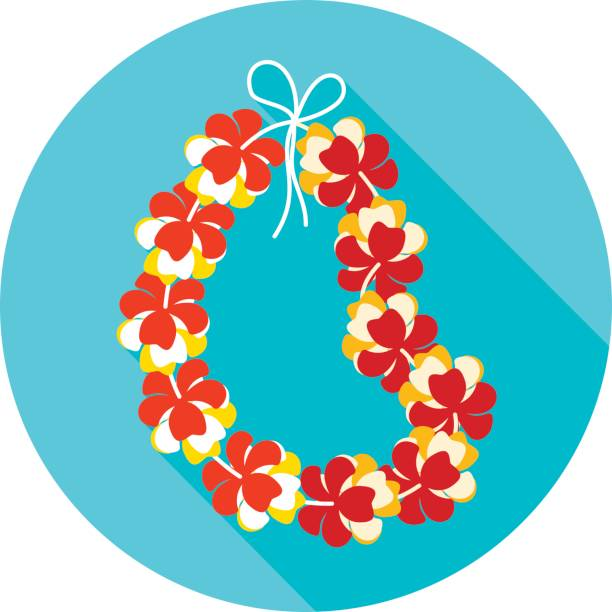hawaii flowers necklace, wreath icon. vacation - hawaiian lei stock illustrations, clip art, cartoons, & icons