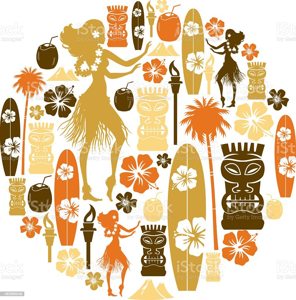 Hawaii Icon Montage vector art illustration