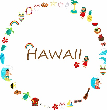 Hawaii icon round frame with text