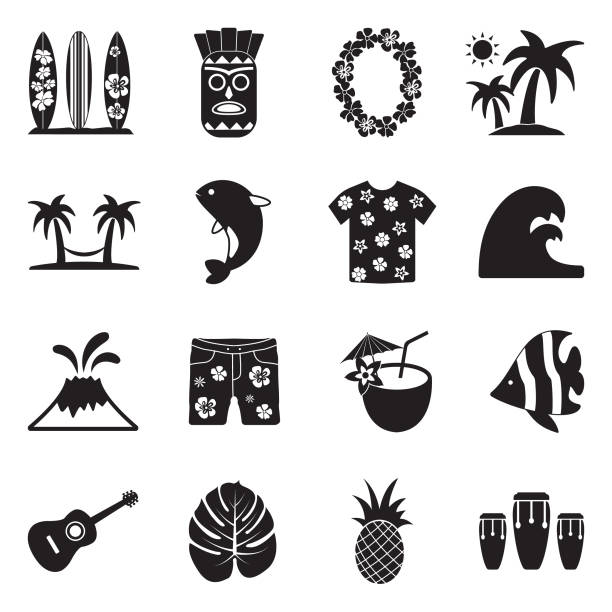 Hawaii Icons. Black Flat Design. Vector Illustration. Honolulu, Hawaii, Vacation, Holiday hawaiian culture stock illustrations