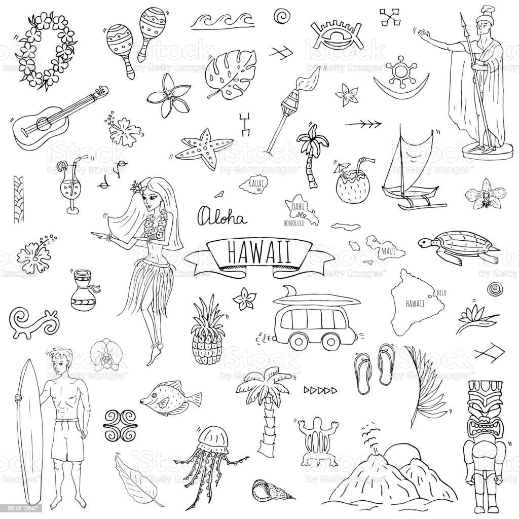 Hawaii icons set vector art illustration