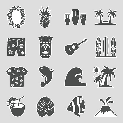 Hawaii Icons. Sticker Design. Vector Illustration.