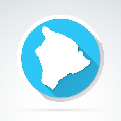 Hawaii island map icon - Flat Design with Long Shadow