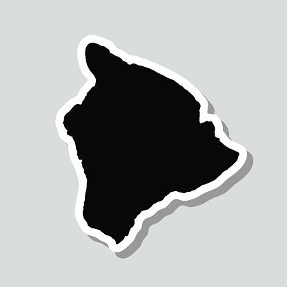 Hawaii island map sticker on gray background