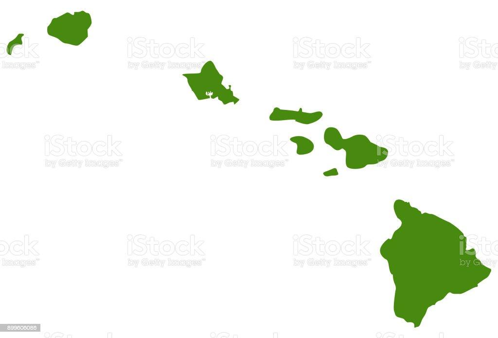 Hawaii islands map vector art illustration