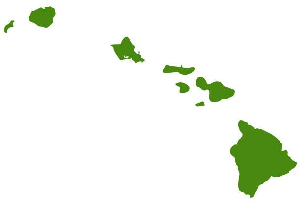 bildbanksillustrationer, clip art samt tecknat material och ikoner med hawaii öarna karta - delstat hawaii