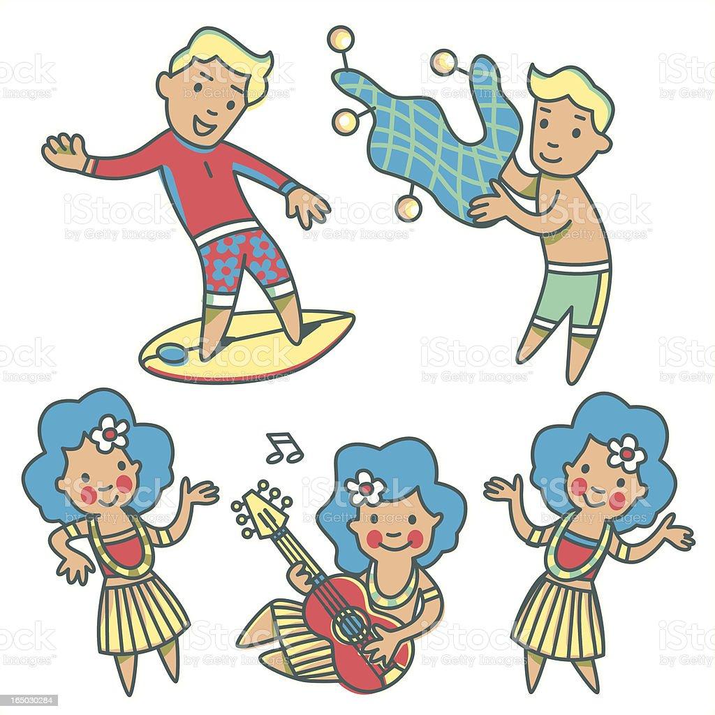 Hawaii Kids vector art illustration