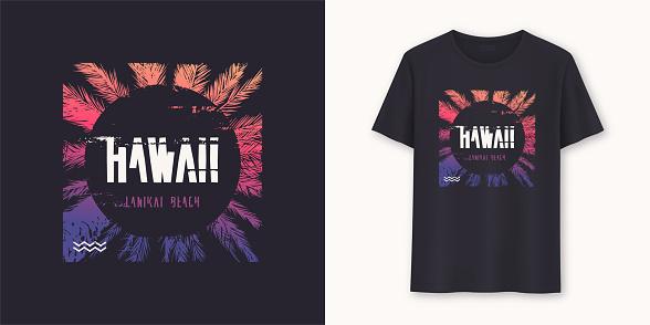 Hawaii Lanikai Beach stylish graphic tee vector design, print