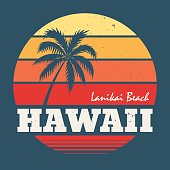 Hawaii Lanikai beach tee print with palm tree.