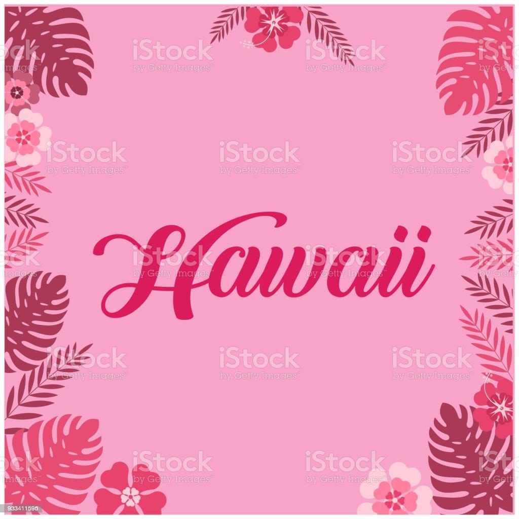 Hawaii Leaves Flower Pink Background Vector Image Stock Vector Art