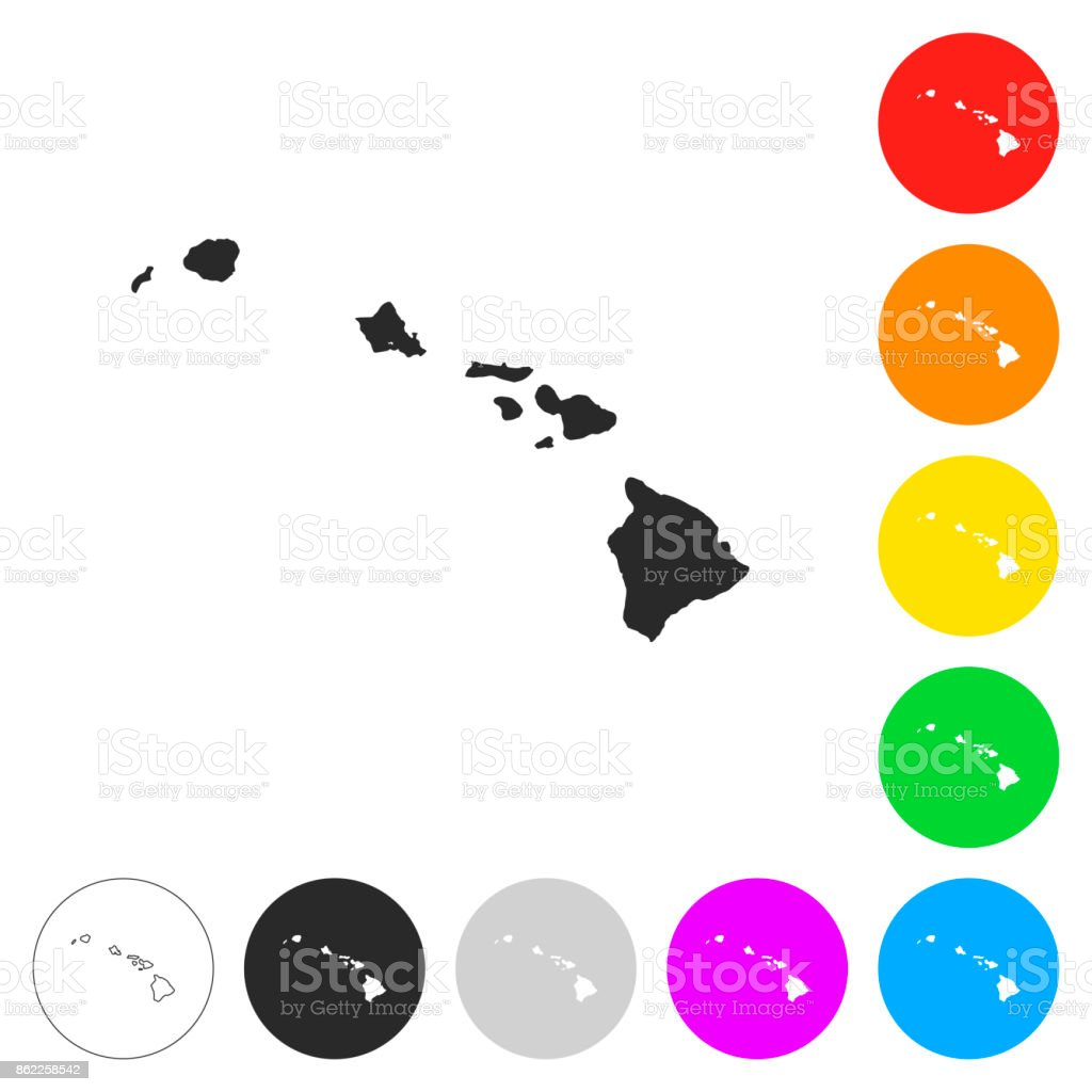 Hawaii Map Flat Icons On Different Color Buttons Stock Vector Art