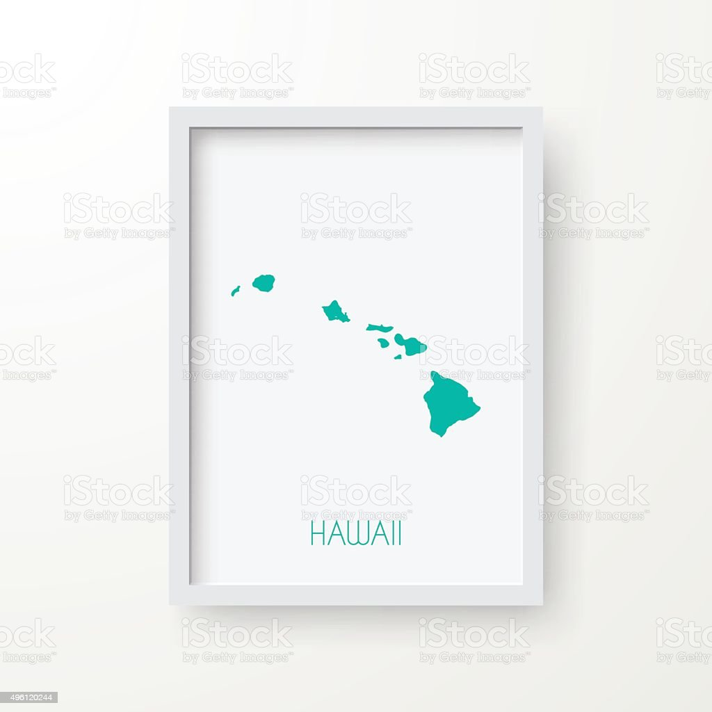 Hawaii Map In Frame On White Background Stock Vector Art & More ...