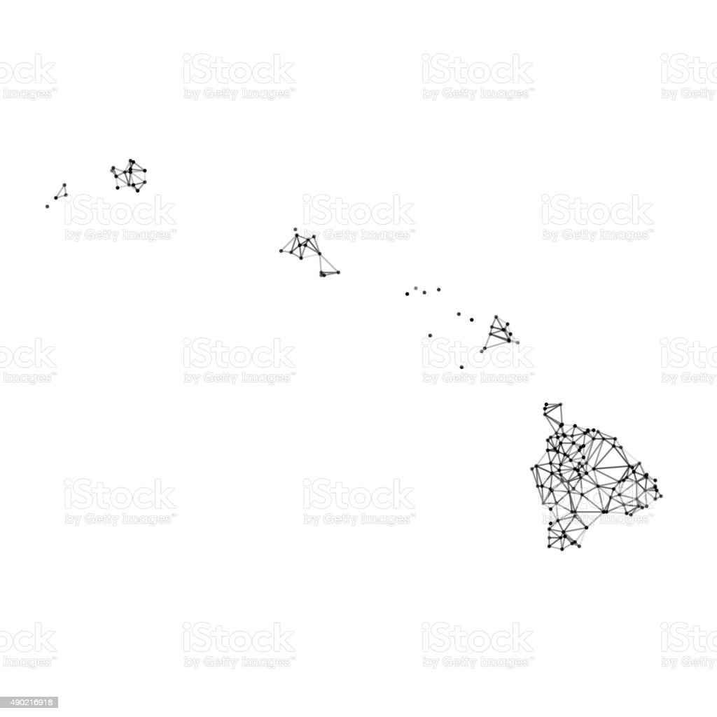 Hawaii Map Network Black And White Stock Vector Art More Images Of