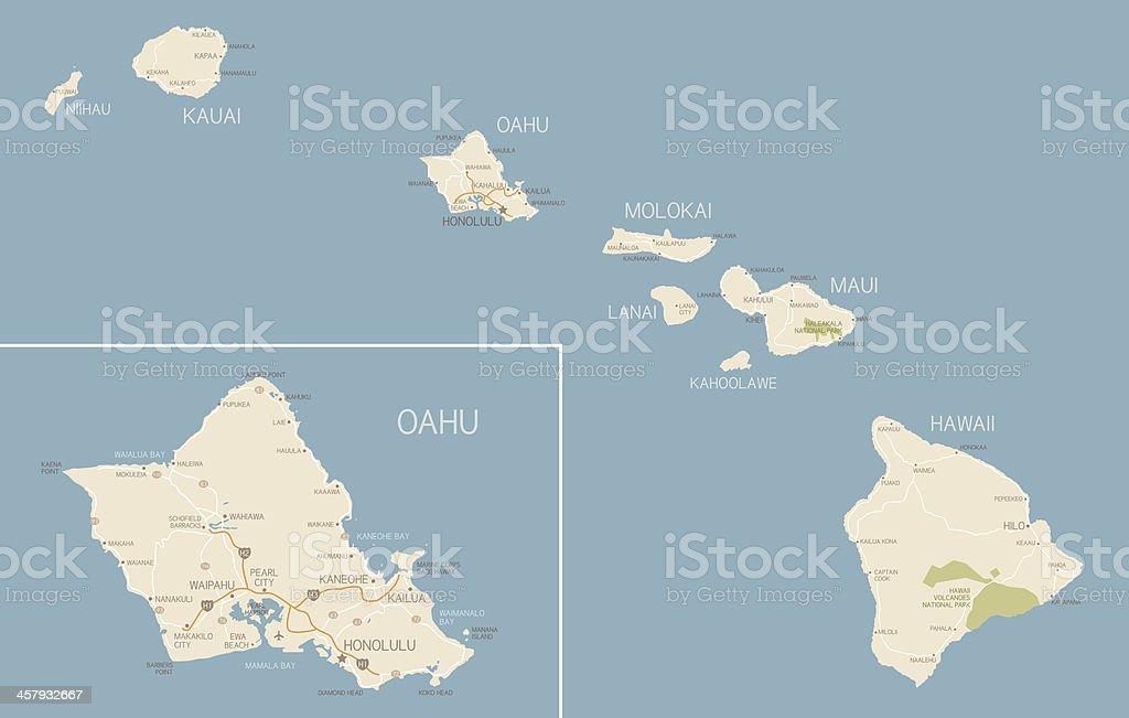 Hawaii Map royalty-free stock vector art