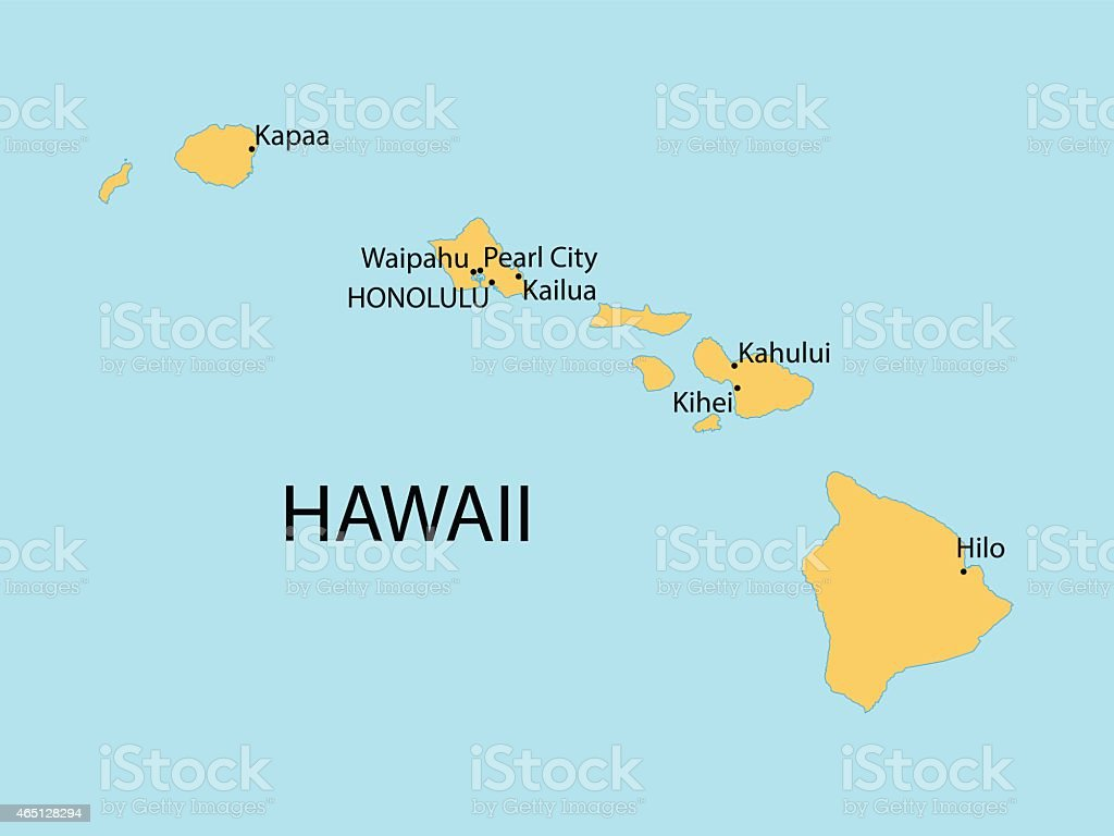 Hawaii Map Stock Vector Art IStock - Hawaii cities map