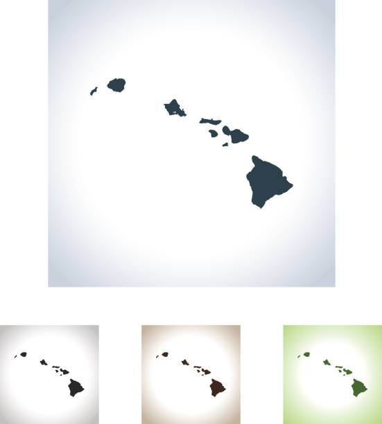 Hawaii map vector art illustration