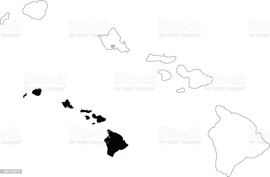 Hawaii Map Stock Vector Art More Images Of Black Color 696159818