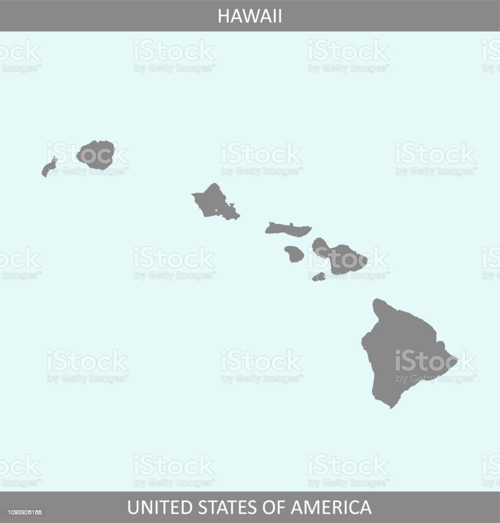 Hawaii Map Vector Outline Gray Background A State Of United States ...