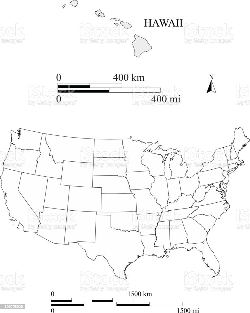 Hawaii map vector outlines with scales of miles and kilometers vector art illustration
