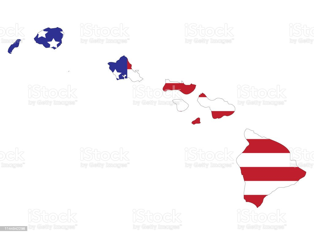 Hawaii Map With American Flag Stock Illustration - Download ...