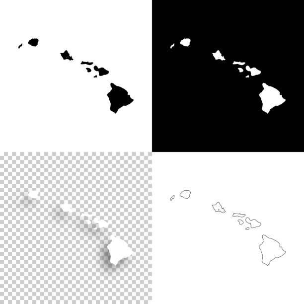 bildbanksillustrationer, clip art samt tecknat material och ikoner med hawaii kartor för design - blank, vit och svart bakgrund - delstat hawaii