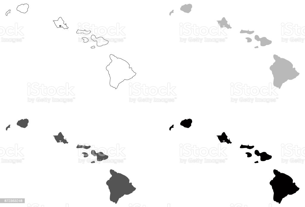 Hawaii Maps Stock Vector Art More Images Of Big Island Hawaii