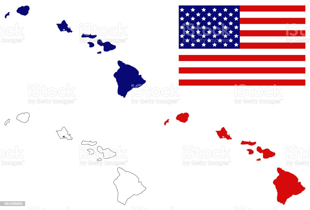 Hawaii Maps Stock Vector Art More Images Of American Flag