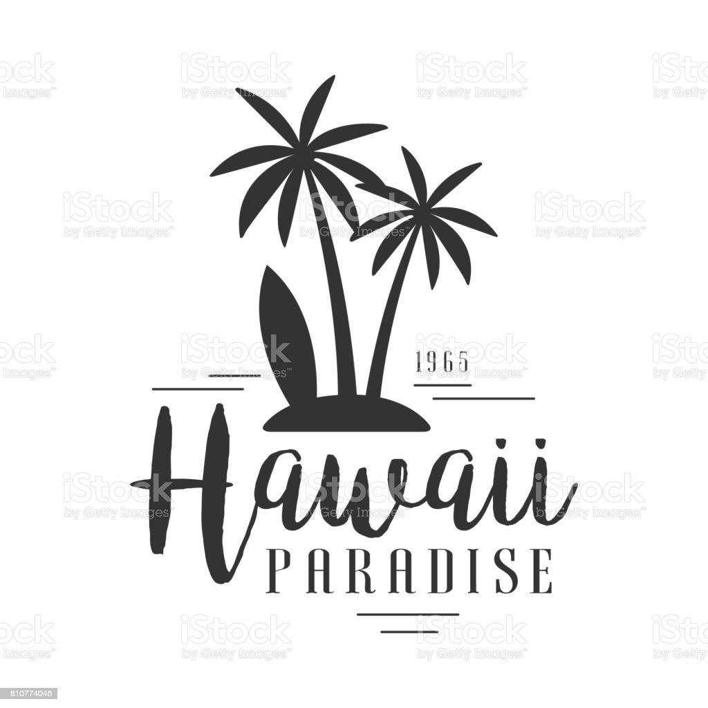 Hawaii-Paradies, seit 1965 Symbol Vorlage, schwarz-weiß Vektor Illustration – Vektorgrafik