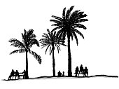 A group of people enjoying the shade of palm trees
