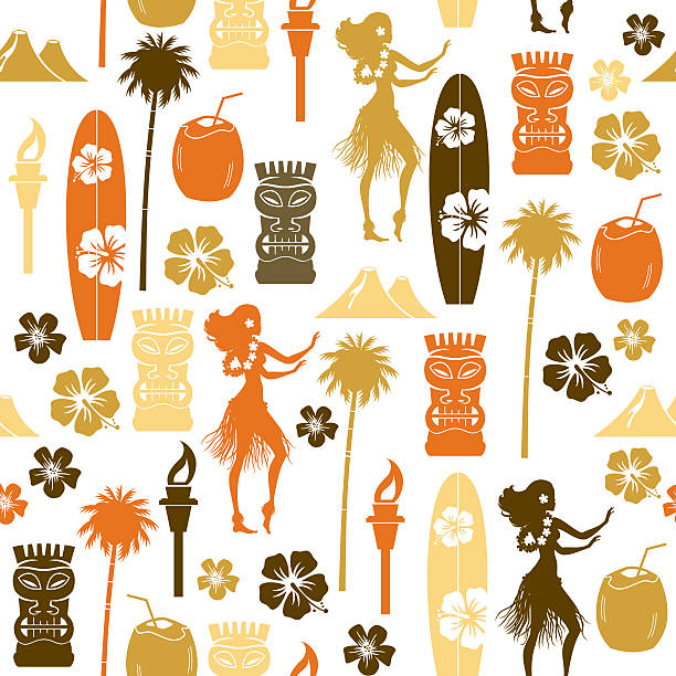 Hawaii Repeat Pattern A seamless pattern of Hawaiian related icons. See below for an icon set of this image.  hawaiian culture stock illustrations