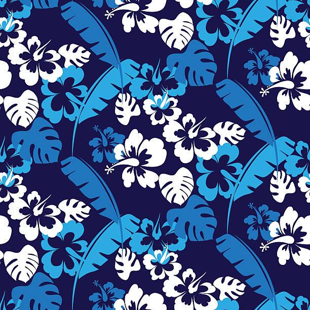 hawaii nahtlose muster - hibiskusgarten stock-grafiken, -clipart, -cartoons und -symbole